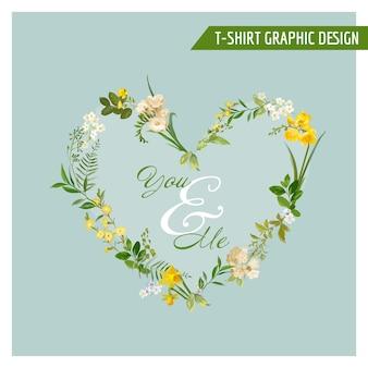 Летние и весенние полевые цветы графический дизайн для футболок, моды, принтов