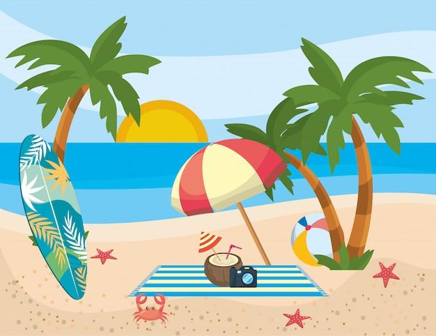 Лето и отпуск значок набор