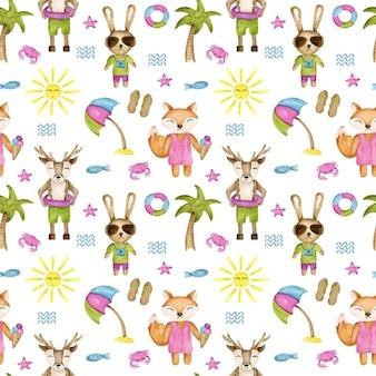 Summer animals  seamless pattern