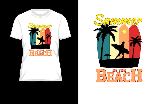 夏のビーチシルエットレトロtシャツデザイン
