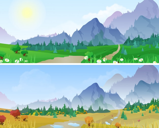 Summer and autumn mountains landscapes vector illustration.
