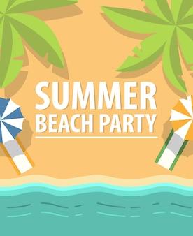 Летняя баха вечеринка флаера. солнечный берег, тропический курорт, пляжное полотенце, навес.