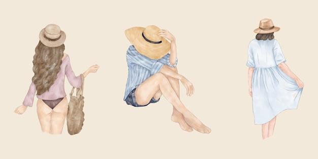 帽子バッグと夏のドレスで夏の背中の女の子