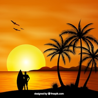 Summer backgroud with sunset and palm trees silhouette
