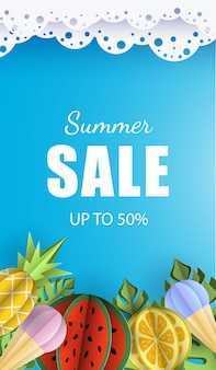 Summer background banner 3d paper