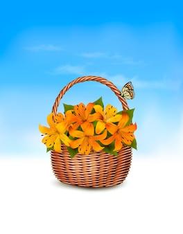 Летний фон. корзина с цветами и бабочкой.