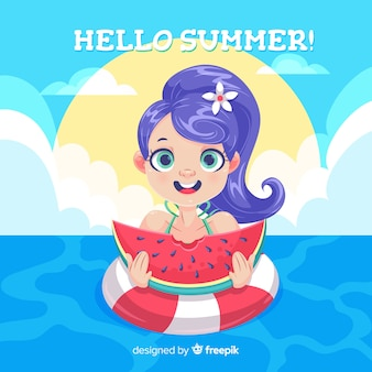 Summer background cartoon girl