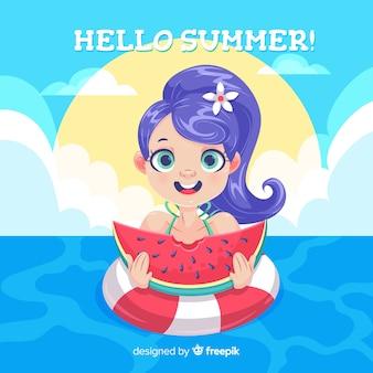 Summer background cartoon girl