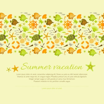Summer background decorated with nautical illustrations.