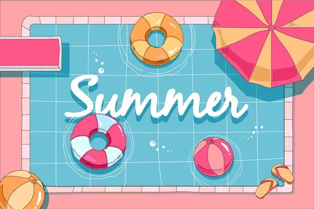 여름 배경 손으로 그린 디자인