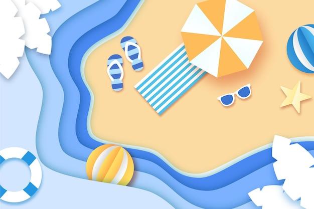 종이 스타일 개념의 여름 배경
