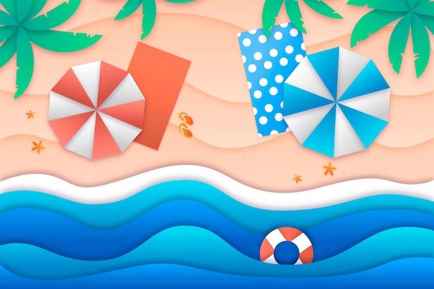 Летний фон в бумажном стиле с пляжем