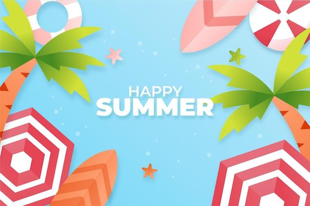 종이 스타일의 여름 배경