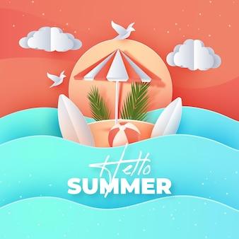 紙のスタイルで夏の背景