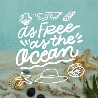 Summer background lettering with photo