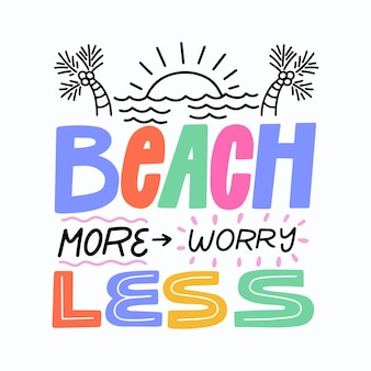 Summer background lettering with sea