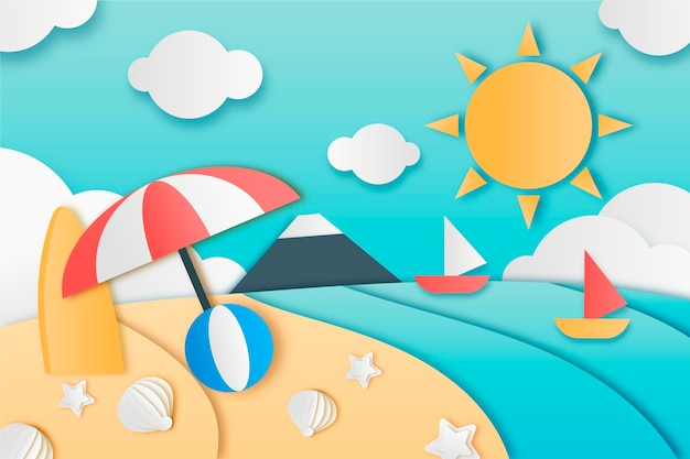 Summer background in paper style design
