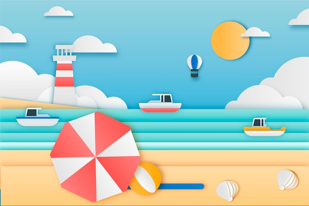 Summer background in paper style theme