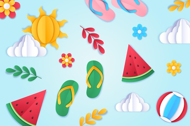 Summer background in paper style