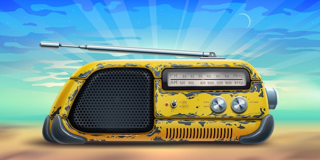 Summer background poster with yellow radio receiver on a beach over sea