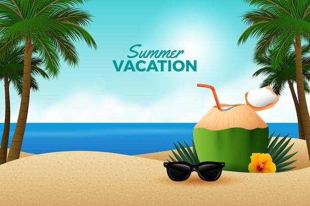 Summer background realistic design