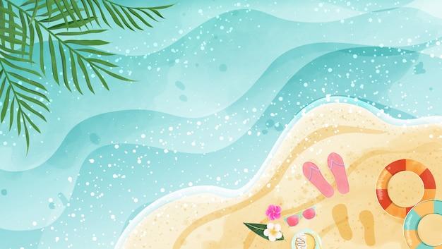 夏の背景は、水彩画のビーチを表しています。トップビューとコピースペースがあります。