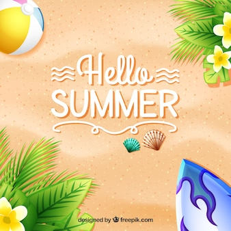 Summer background of sand and flowers