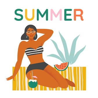 Summer background set with womanwatermelon beach cocktail Premium Vector