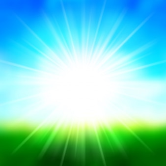 Summer background sky and landscape with sun lens flare vector illustration.