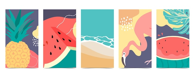Summer background for social media with flamingowatermelonpineapple