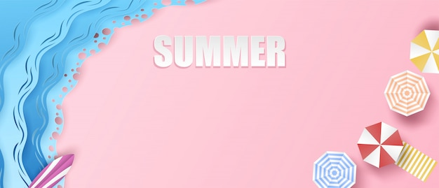 Summer background. travel and relax summer on the beach concept. design with top view beach, umbrellas, surfboard