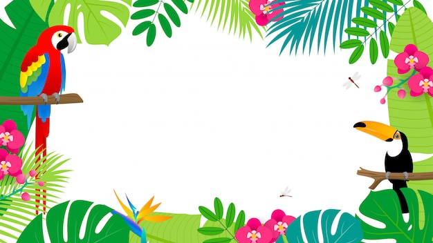 Summer background. tropical leaves frame with birds.