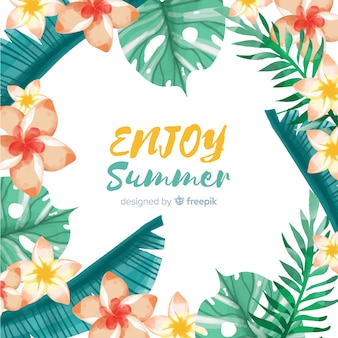 Summer background tropical plants frame