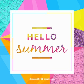 Summer background with abstract and colorful shapes
