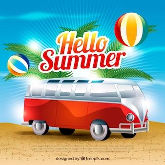 Sfondo estate con le palle e caravan