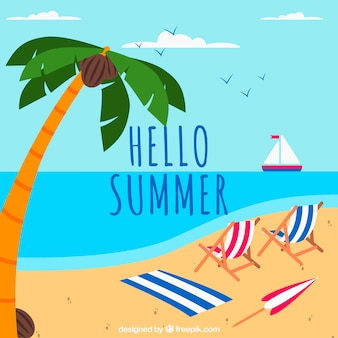 Summer background with beach and chairs in flat style