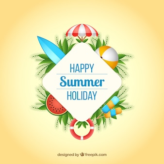Summer background with beach elements in realistic style