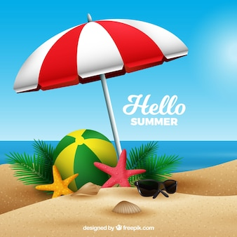 Summer background with beach in realistic style