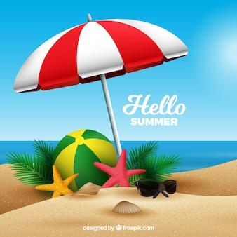 Priorità bassa di estate con la spiaggia in stile realistico