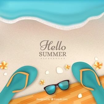 Summer background with beach top view