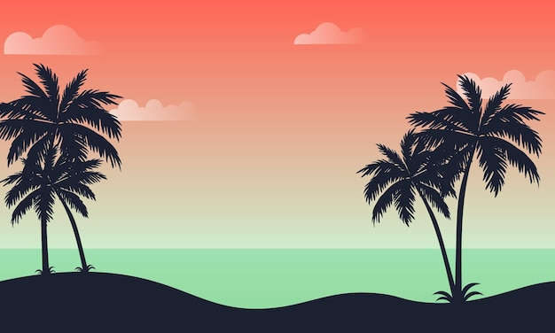 Summer background with beach. vector illustration.