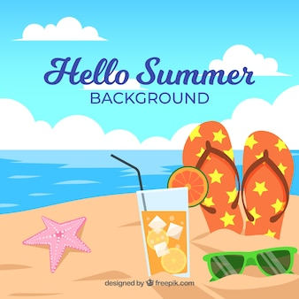 Summer background with beach view in flat style