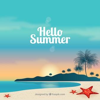 Sfondo estate con vista sulla spiaggia in stile realistico