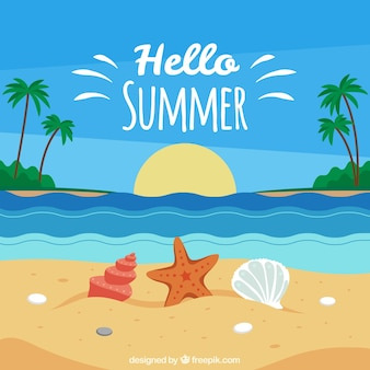 Summer background with beach view