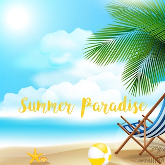 Summer background with beach volleyball starfish and shells