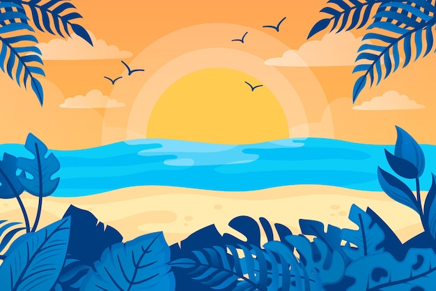 Летний фон с пляжем