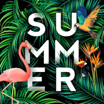 Summer background with birds and palm tree leaves