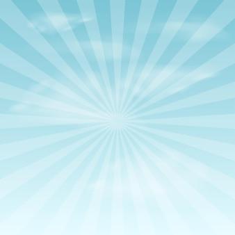 青い空と太陽光線と夏の背景。