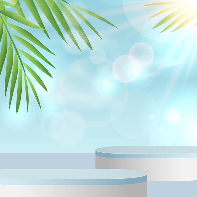 Summer background with blue sky and sun rays with podiums