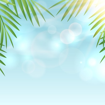 Summer background with blue sky and sun rays.
